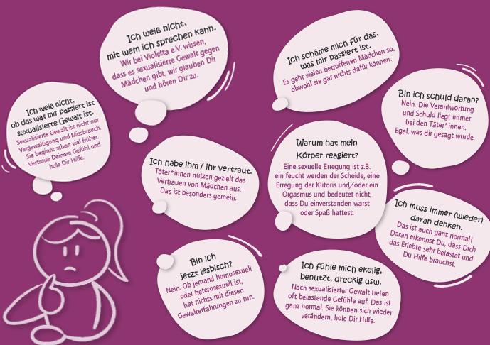 Viele Mädchen haben Ängste und Scham über Erlebnisse zu sprechen.